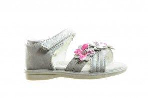 Zilveren Meisjes Sandaal Met Bloemen En Velcro