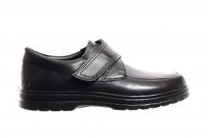 Zwarte Geklede Lederen Herenschoenen Met Velcro