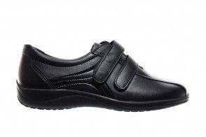 Zwarte Lederen Dames Comfortschoenen