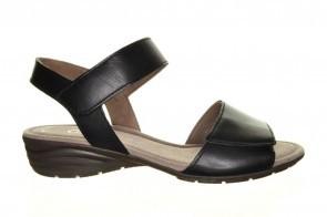 Zwarte Lederen Velcro Sandaal Gabor