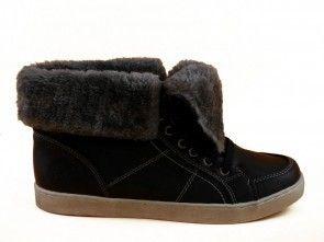 Zwarte Patrick Sneaker Hoog Met Wol