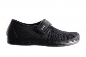 Zwarte Stoffen Gesloten Pantoffel Heren Velcro